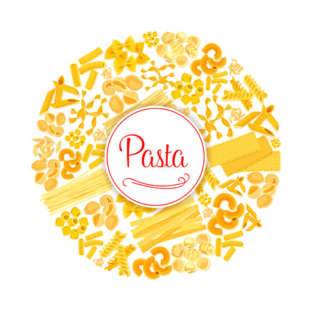 Pasta or macaroni vector round Italian poster.