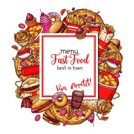 Fast food vector menu cover of restaurant template.