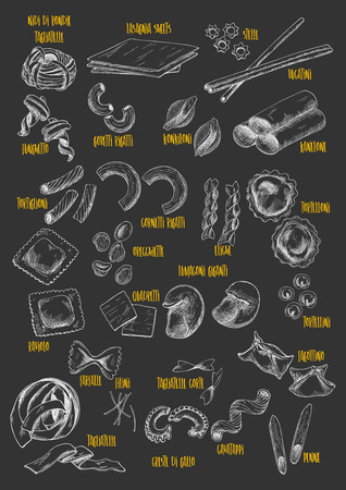 Pasta or macaroni vector chalk sketch icons. 向量圖像