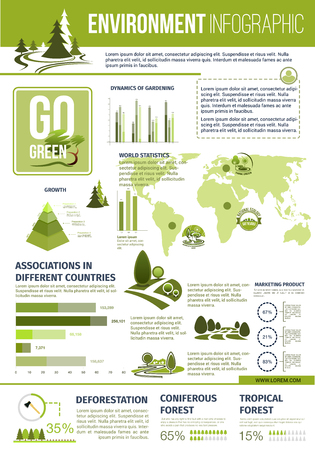 diagrama de arbol: Green nature vector infographics template. Vectores