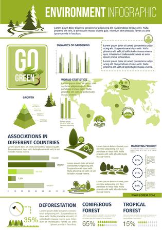 Groene natuur vector infographics sjabloon.