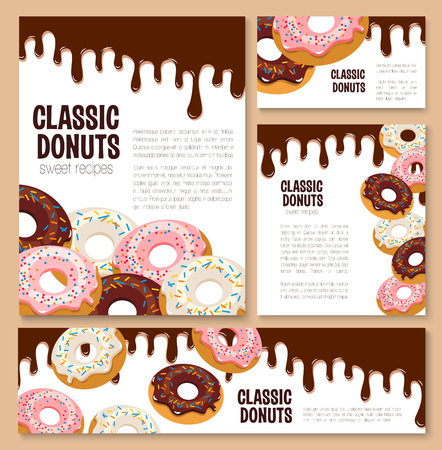 Vector templates set for donut desserts. Illustration