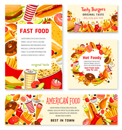 Fast food restaurant vector menu posters templates. Illustration