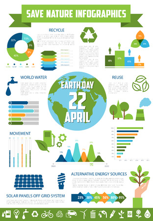 Save nature infographic for Earth Day design.