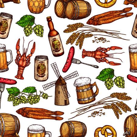 kipper: Beer pub snacks and drinks vector seamless pattern.