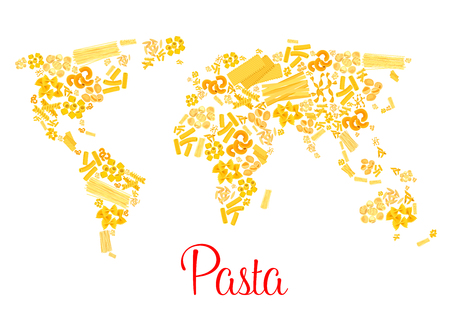 Pasta or italian macaroni vector world map
