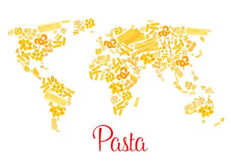 Pasta or italian macaroni vector world map