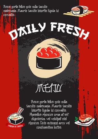 Japanese restaurant sushi menu vector template