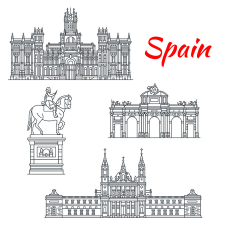 스페인의 건축물 건물 벡터 아이콘 일러스트