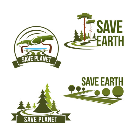 tree world tree service: Vector icons set for save earth ecology protection
