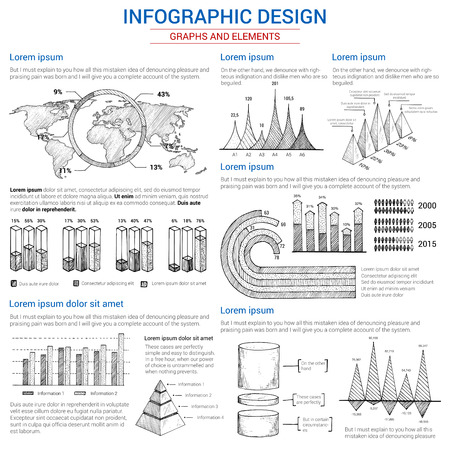 Vector sketch graphs and elements for infographics Illustration