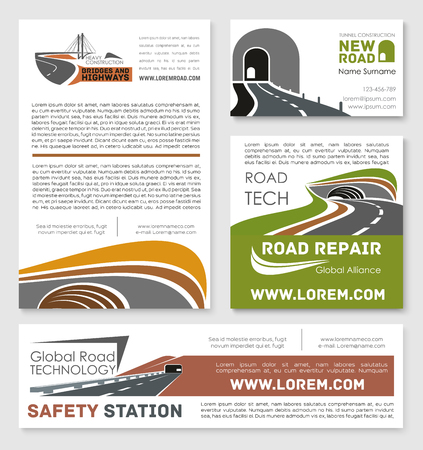 tunneling: Vector safety road construction service posters Illustration