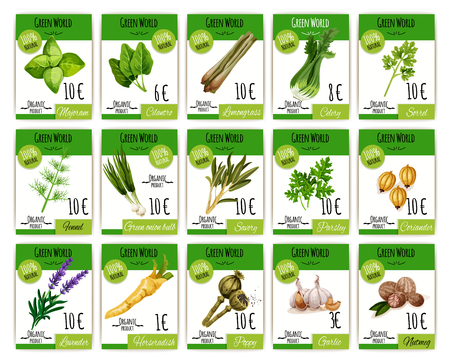 Vector prijskaarten ingesteld voor kruiden en kruiden Stock Illustratie