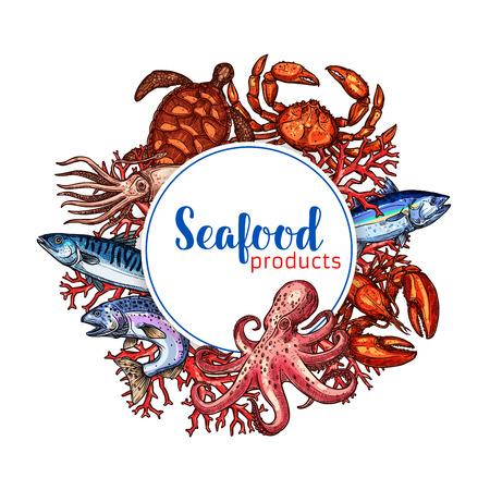 Seafood restaurant poster vector sketch design