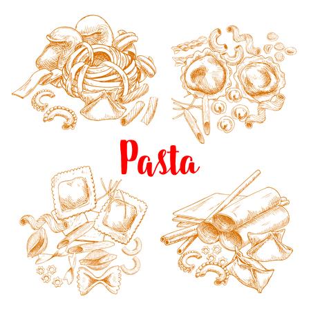 Pasta or italian macaroni vector sketch poster
