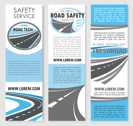 tunneling: Vector safety road construction service banners Illustration