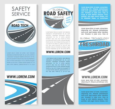 Vector safety road construction service banners Illusztráció