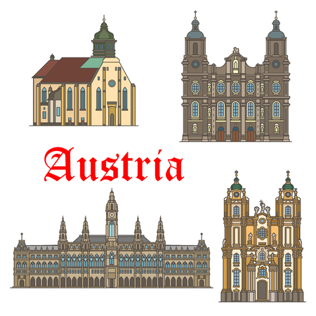 Architecture landmarks of Austria vector icons