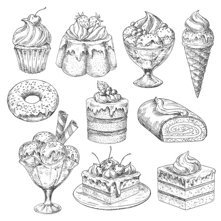 Vector desserts and cakes for bakery sketch icons Illustration