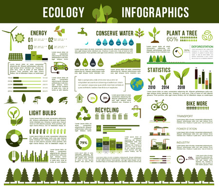 Ecology conservation vector infographics template Illustration