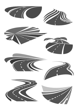 tunneling: Vector icons of road lanes and highway symbols
