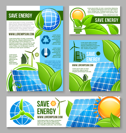 Save energy business banner template design Stock Illustratie