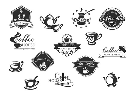 steamy: Coffee cups vector icons for cafeteria or cafe Illustration