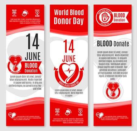 World Donor Day blood donation vector banners