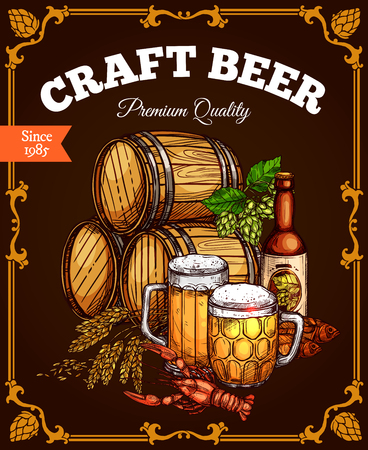 Craft beer pub bar vector retro poster