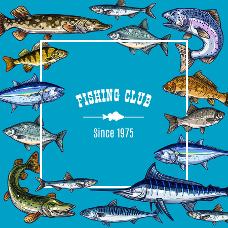 Vector sketch poster template for fishing club Ilustrace