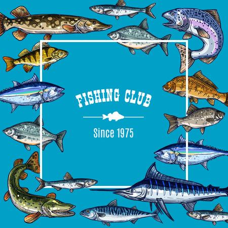 Vector sketch poster template for fishing club Ilustração