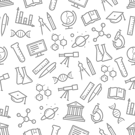 Seamless pattern of vector science symbols