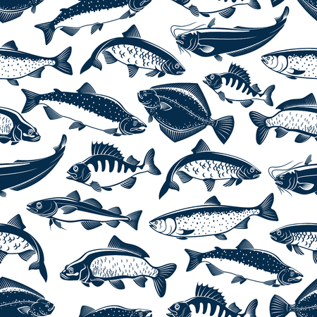 Fishes sketch seamless vector pattern Illustration