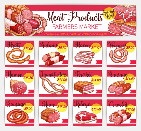Vector meat price cards butchery market template