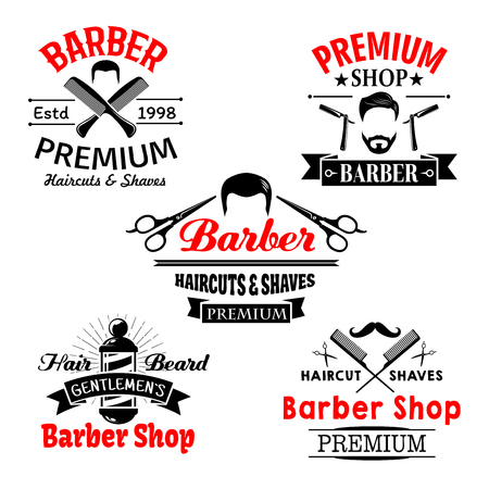 barbershop: Barber shop premium salon vector icons set