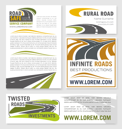 tunneling: Vector banners for road construction investment Illustration