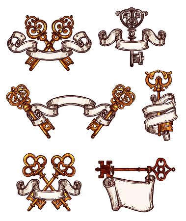 brass: Vintage keys vector icons sketch decor set