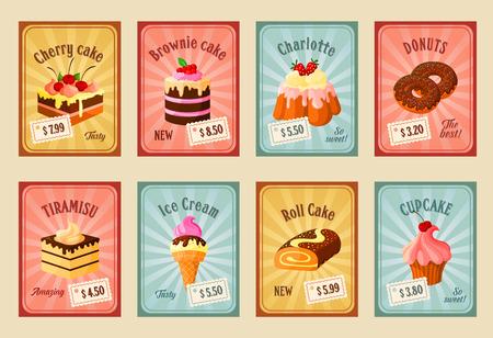 Vector price cards set for bakery dessets Иллюстрация