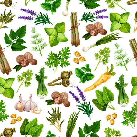 Spices and herbs seamless vector pattern