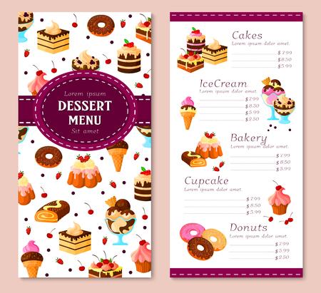 Modello di menu vettoriale per dolci da forno dolci Archivio Fotografico - 75811612