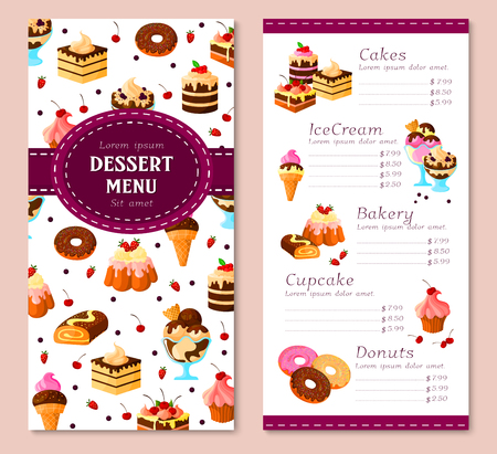 Vector menu template for bakery desserts cakes