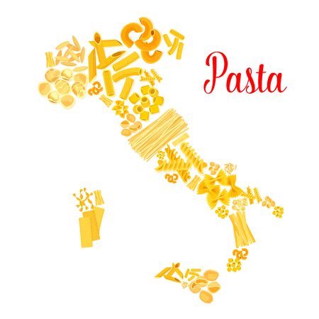Pasta or italian macaroni vector Italy map