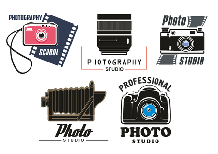 Vector icons set for photo studio school