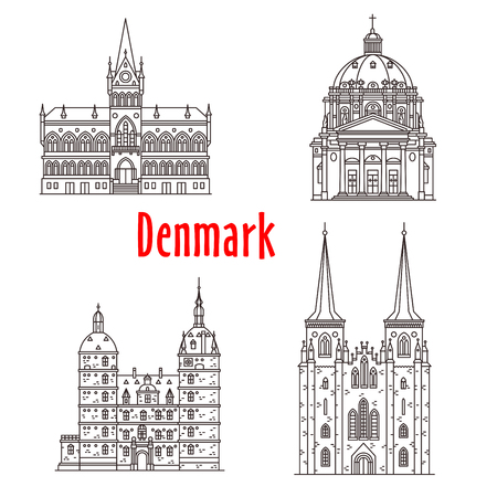 Architectuur Denemarken landmark vector gebouwen Stock Illustratie