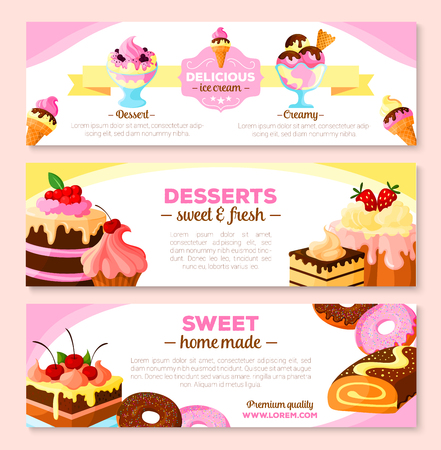 vanilla pudding: Vector banners set for homemade bakery desserts Illustration