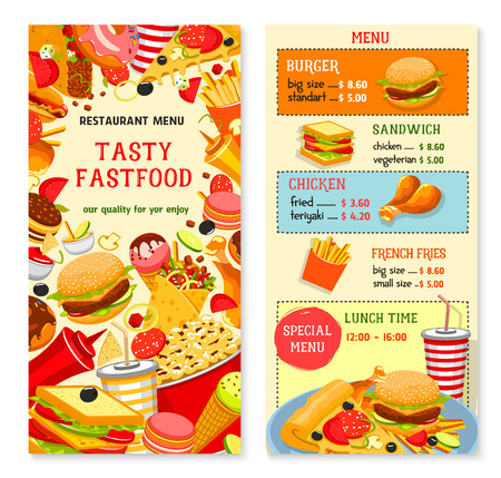Fast food vector templates for restaurant menu Illustration