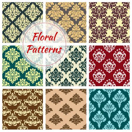Vectror seamless floral Damask patterns set.
