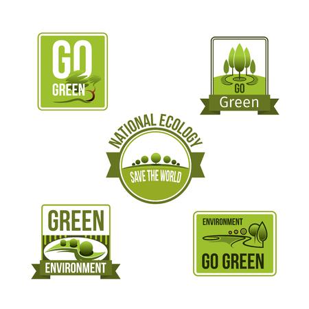 Iconos de vector de eco de la naturaleza y la tierra