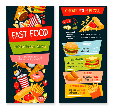 Fast food vector restaurant template menu. Illustration