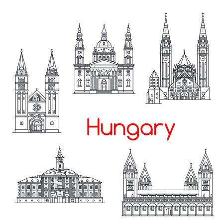 Icone vettoriali del punto di riferimento di architettura nazionale Ungheria Vettoriali
